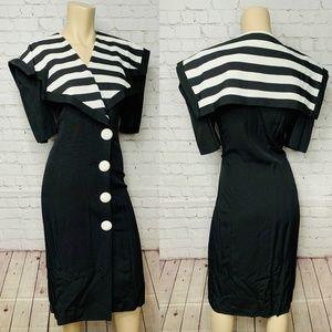 Vintage 80's JOSEPH RIBKOFF Striped Dress Sz 11/12